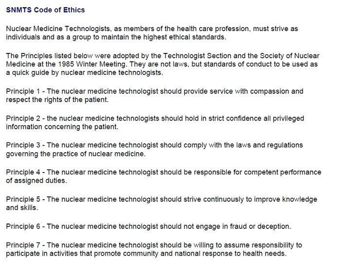 SNMMI(TS) Code of Ethics for Nuclear Medicine Technologists (NMTs ...