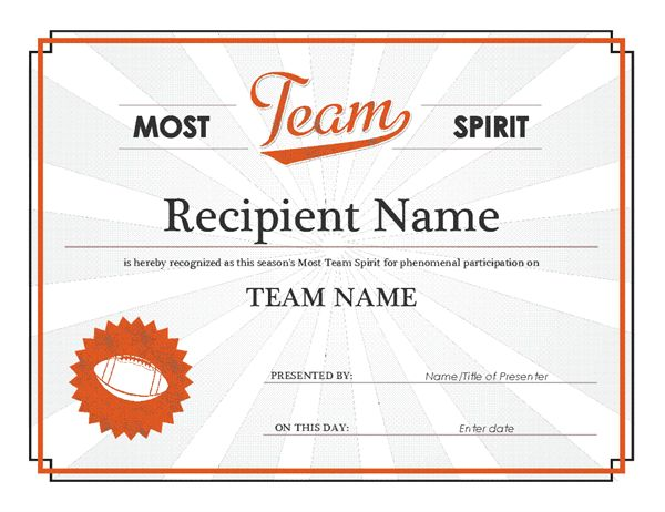 Team spirit award certificate - Office Templates