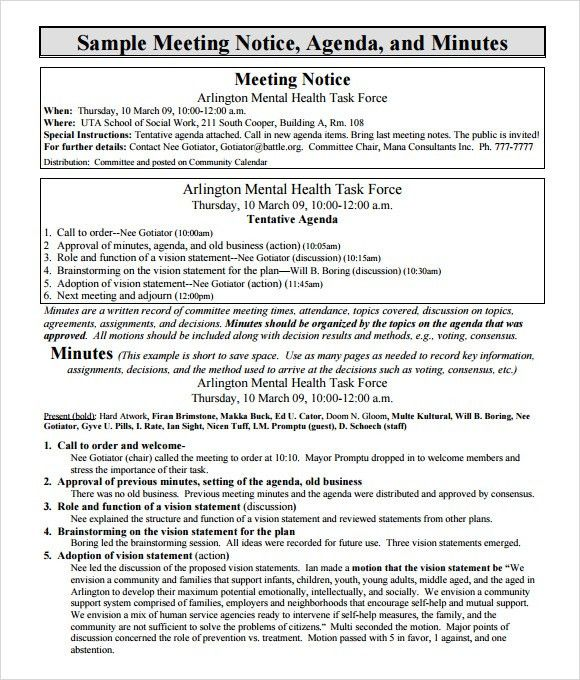 notes for meeting - Template