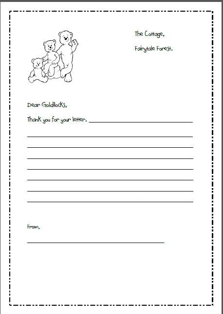 letter writing template for goldilocks and the 3 bears ...
