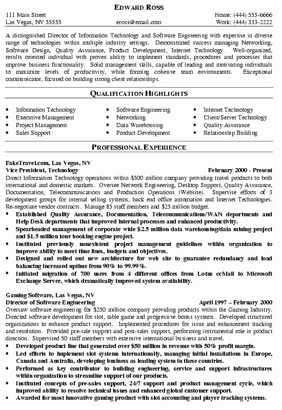 Resume Examples. it director resume template word example manager ...