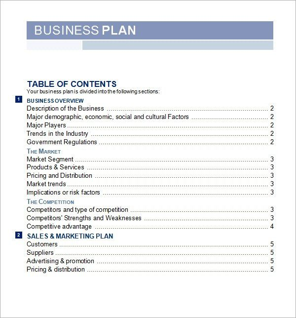 Business Plan Template Word | Free Business Template