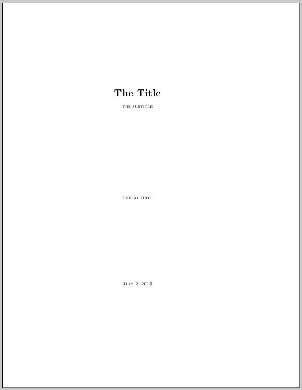 Making a title page with a subtitle in Memoir - TeX - LaTeX Stack ...