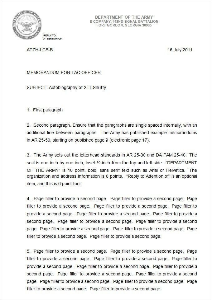 Sample Army Memo Template - 5 Free PDF Documents Download   Free ...
