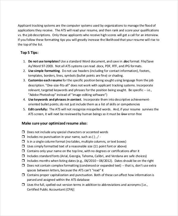 Parse Resume - 4+ Free Word, PDF Documents Download | Free ...