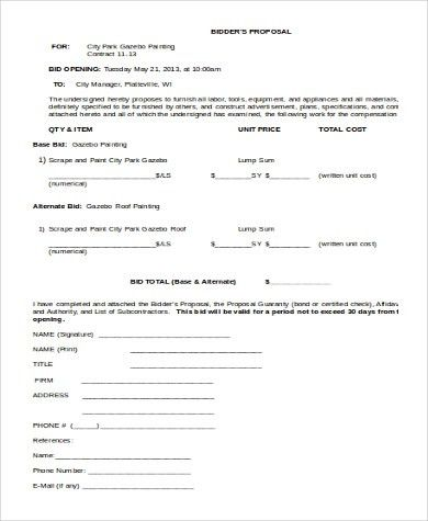 Sample Contractor Bid Form - 7+ Free Documents in Word, PDF, Xls
