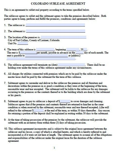 Free Colorado Sublease Agreement – PDF Template