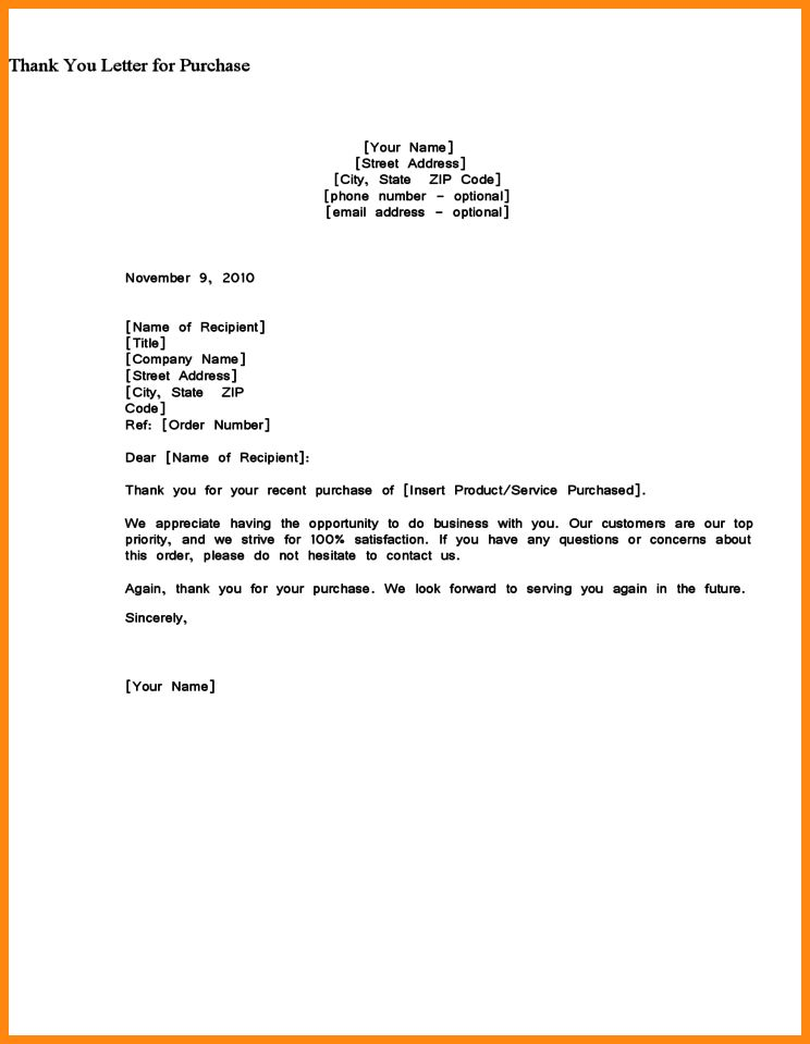 5+ example of a thank you letter | model resumed