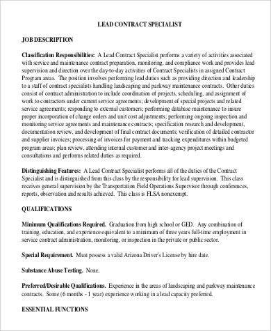 Contract Specialist Job Description Sample - 9+ Examples in PDF