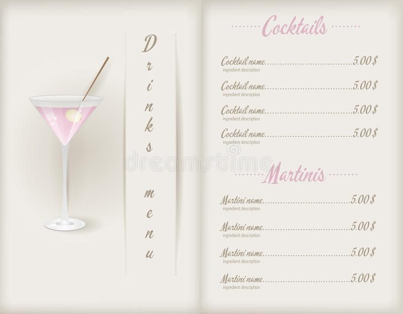 Drink Menu Template Stock Vector - Image: 40971475
