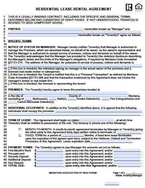 Free Montana Residential Lease Agreement – PDF Template