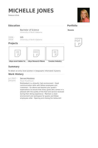 Server/Hostess Resume samples - VisualCV resume samples database