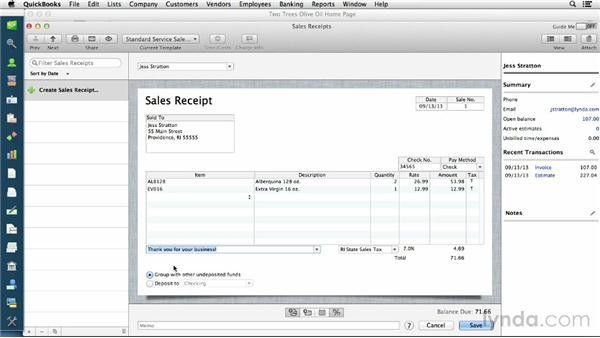 Creating sales receipts for cash sales