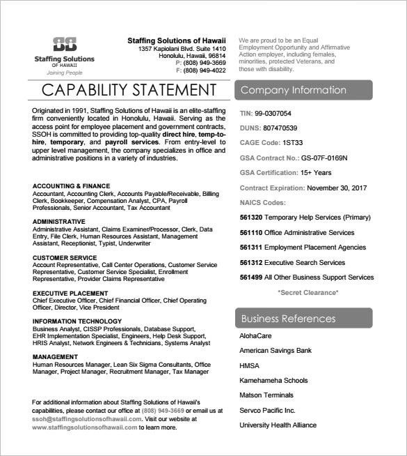 Sample Capability Statement Templates – 12+ Free Documents ...