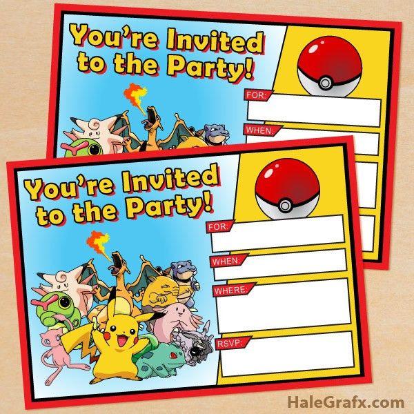 FREE Printable Pokémon Birthday Invitation   Pokemon   Pinterest ...