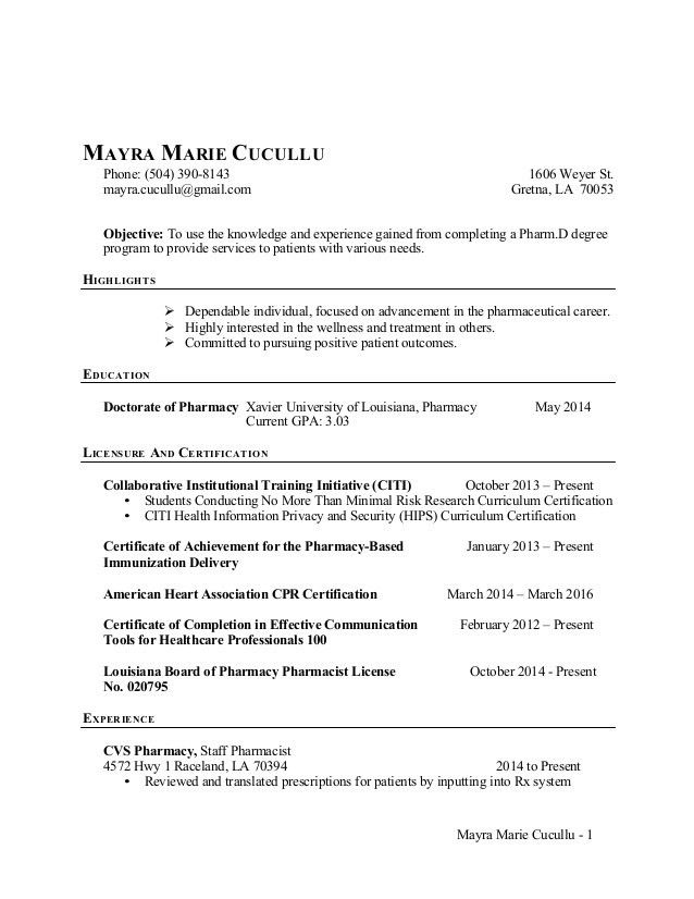 Pharmacy Intern Resume - Resume Example