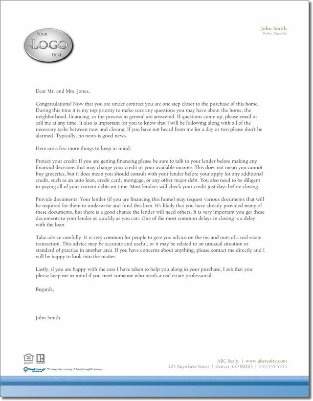 Buyer Under Contract letter template | EXAMPLES-Flyers, Postcards ...