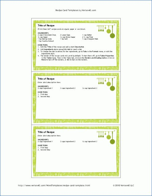 Free Printable Recipe Card Template for Word