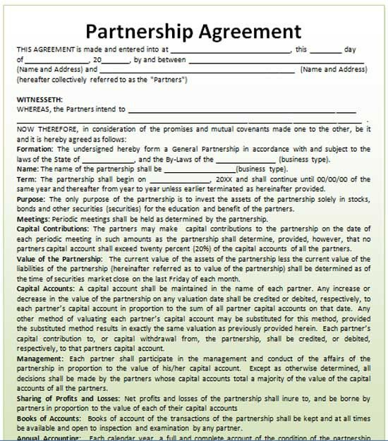 7 Best Images of Business Partnership Agreement Template ...