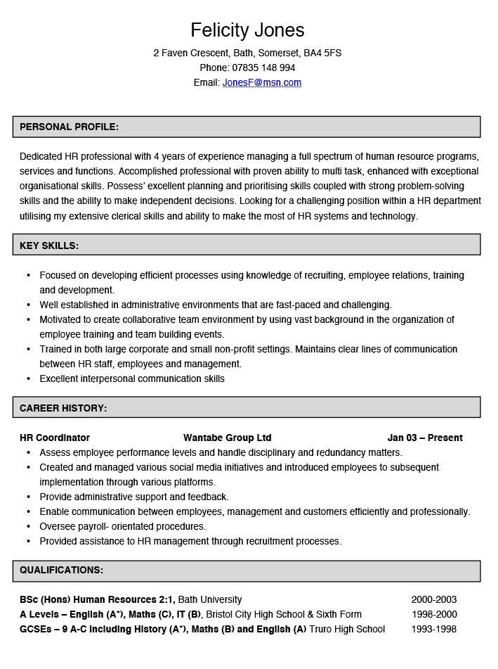 Human Resources Coordinator CV Example | Hashtag CV
