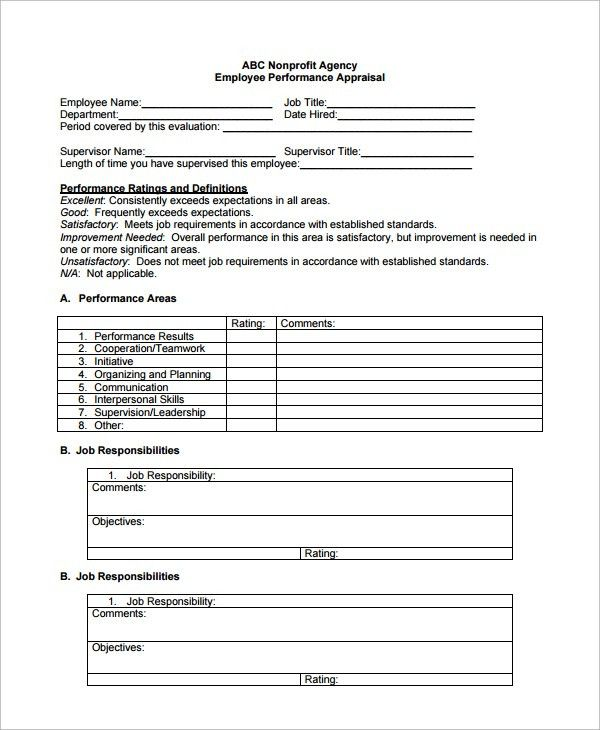 Sample Employee Performance Evaluation Template - 7+ Free ...
