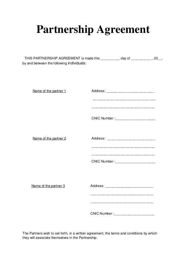 Partnership Agreement / Articles of Partnership