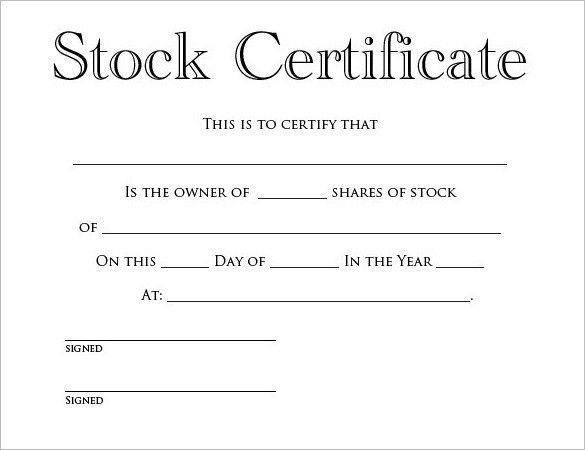 Stock Certificate Template Word Free. Stock Certificate FREE ...