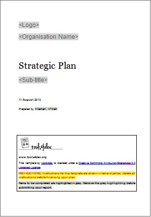 Strategic plan template | tools4dev