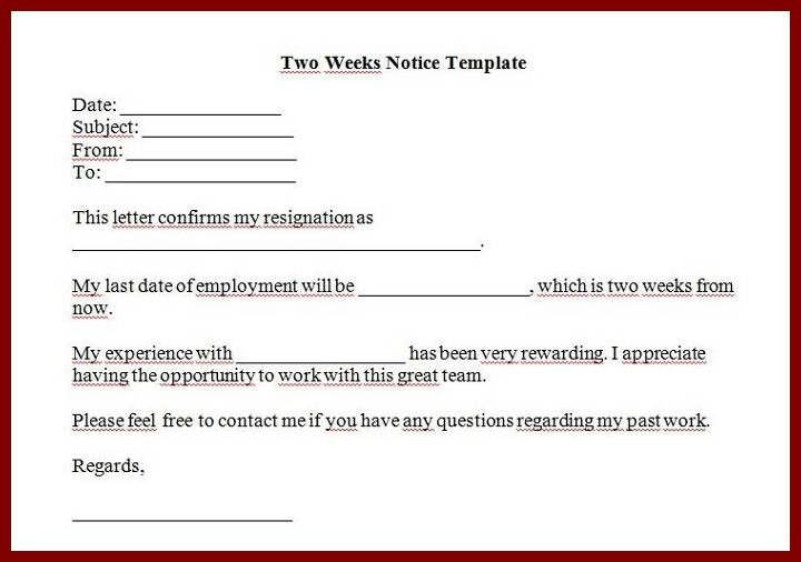 letter sample 2 weeks notice two week notice form 40. two weeks ...