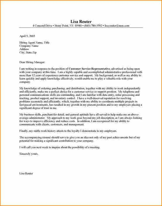16+ example cover letter for customer service - Basic Job ...