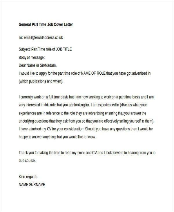 part time job cover letter sample