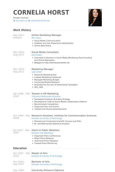 Online Marketing Manager Resume samples - VisualCV resume samples ...