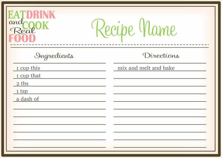 cookbook word template