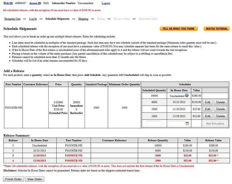 Schedule Shipment Updates to the Digi-Key Website