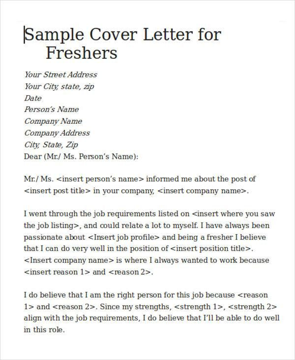 Ideas Collection Sample Cover Letter For Fresher Software Engineer ...