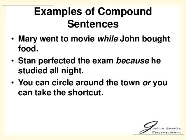 COMPOUND SENTENCE EXAMPLES - alisen berde