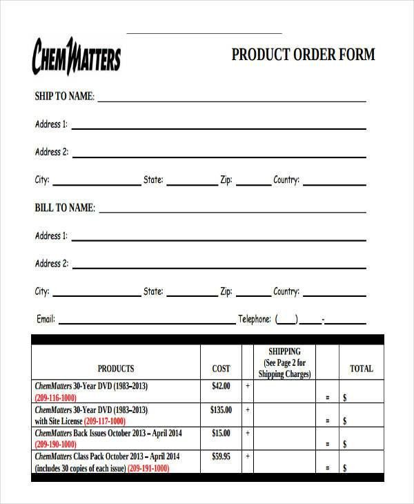 9+ Product Order Forms - Free Samples, Examples Format Download ...