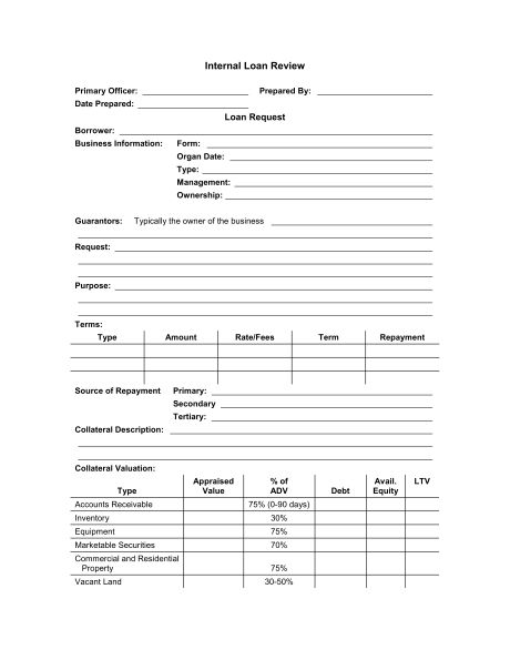 Loan Application Review Form - Template & Sample Form | Biztree.com