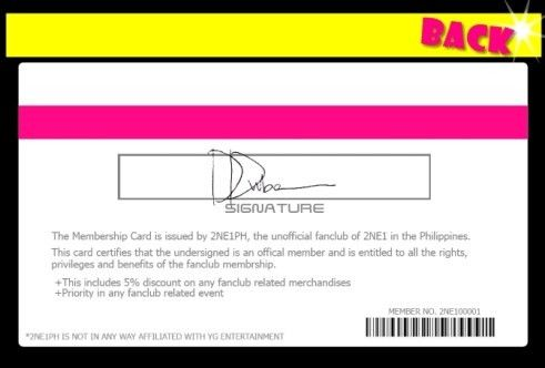 Official 2NE1PH Membership Card | The 1st 2NE1 FANSITE on WordPress