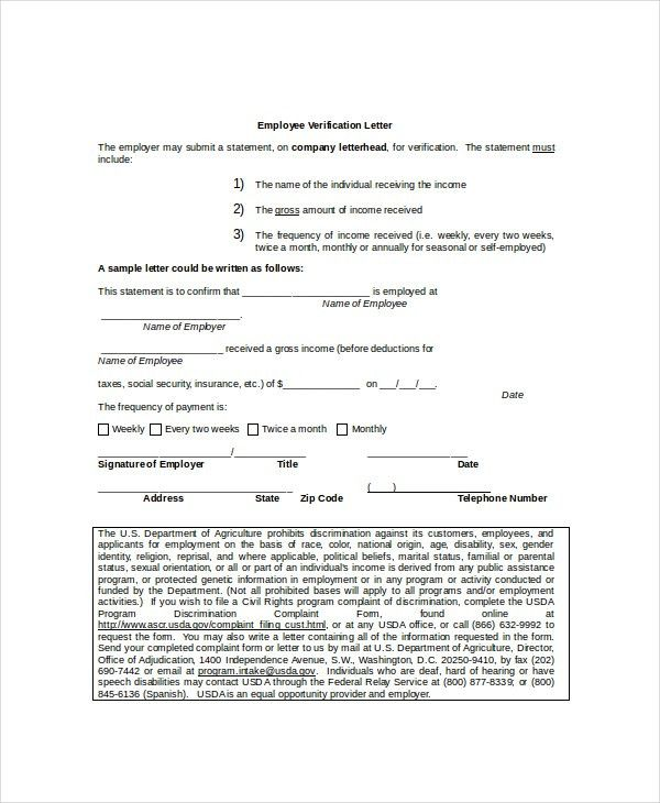 9+ Employment Verification Letter Templates - Free Sample, Example ...