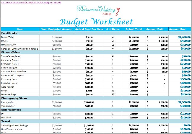 Wedding Budget Template Free Wedding Budget Worksheet Printable