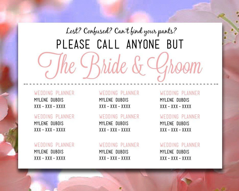 "DIY Wedding Information Card Template ""Please Call Anyone But the ..."