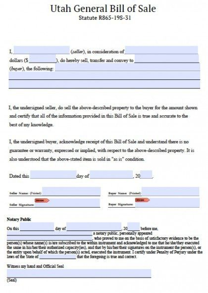 Free Utah General Blank Bill of Sale Form | PDF | Word (.doc)