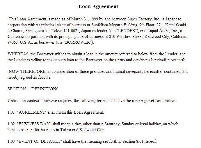Loan agreement between friends / US Bank Personal Loans Requirements