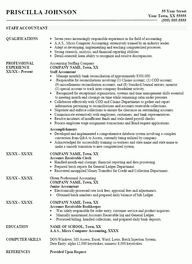 Sample resume for accounting position