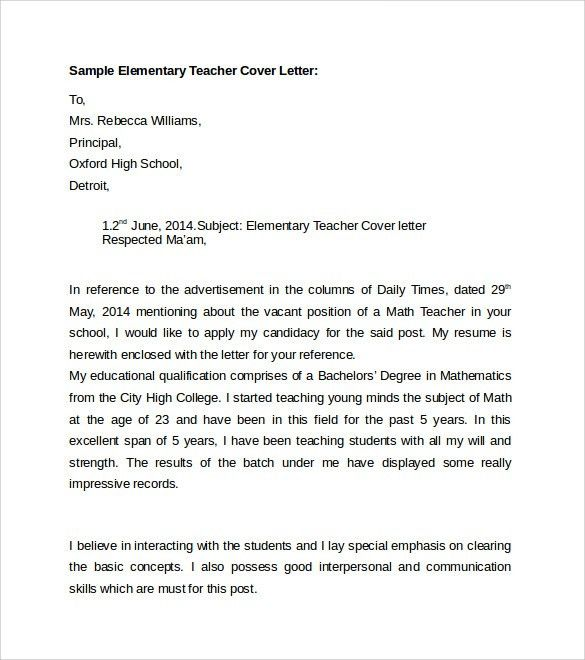 elementary teaching cover letters