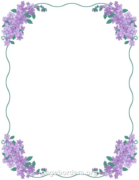Printable lilac border. Use the border in Microsoft Word or other ...