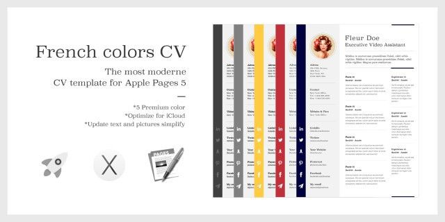 The French Colors CV Resume – Premium template for Apple Pages 5 ...