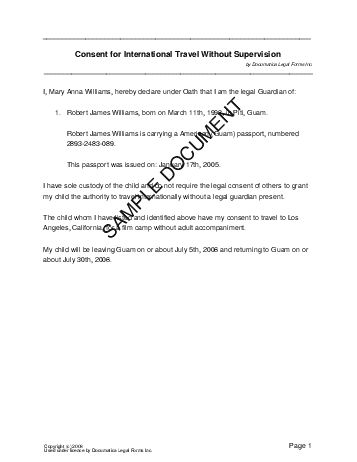 Child Travel Consent (US Territories) - Legal Templates ...