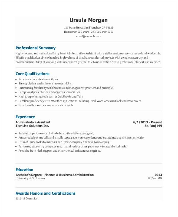 Entry Level Administrative Assistant Resume – 7+ Free PDF ...